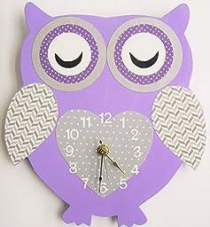Nursery Wall Clock, Nursery Owl Clock, Hanging Owl Clock, Children\'s Room Wall Clock, Owl Wall Clock, Kid\'s Room Owl Wall Clock (Lavender/grey)