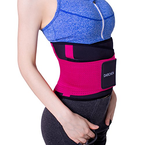 DARCHEN Waist Trainer Belt for Women and Men Body Shaper Belly Wrap Timmer Slimmer Copmression Band with Back Stays (Rose Red, XX-Large)