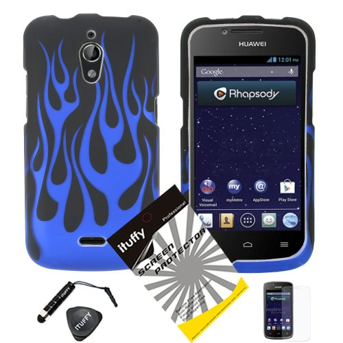 4 items Combo: ITUFFY (TM) LCD Screen Protector Film + Mini Stylus Pen + Case Opener + Black Blue Flame Design Rubberized Snap on Hard Shell Cover Faceplate Skin Phone Case for Huawei Vitria H882L Y301-A2 (MetroPCS) ()