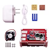 Yahboom Raspberry Pi 3 B+ Case with Fan,3 Pcs Heatsinks,2.5A/5V Power Supply for Raspberry Pi 3 Model B+,Compatible with Raspberry Pi 3/2 Model—Red