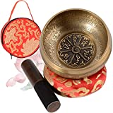 SHANSHUI 4'' Tibetan Singing Bowl Meditation Set, Antique Design Mantra Hand-carved Handmade in Nepal with Silk Cushion & Striker For Silent Mind, Chakra Healing, Yoga,and Mindfulness Best Gift