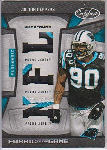 b7ea649c7 Julius Peppers Certified 2009 Carolina Panthers Fabric of the Game Used  Jersey Memorabilia Swatch  15
