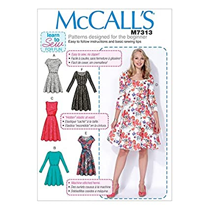 Amazon.com: McCalls Ladies Easy Learn to Sew Sewing Pattern 7313 ...
