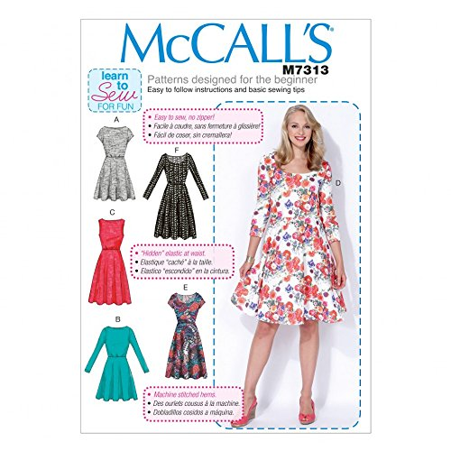 McCalls Ladies Easy Learn to Sew Sewing Pattern 7313 Flared Dresses by McCall's