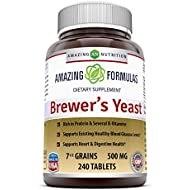Amazing Nutrition Brewers Yeast Tablets - 7.5 Grain Capsule 500mg 240 Tablets - Supports Healthy Digestion * Promotes Heart Health