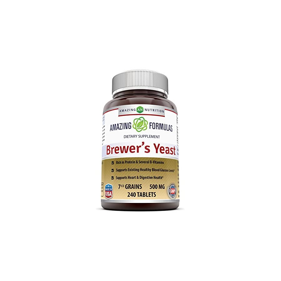 Amazing Nutrition Brewers Yeast Tablets 7.5 Grain Capsule 500mg 240 Tablets Supports Healthy Digestion * Promotes Heart Health