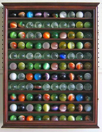 Large Toy/Antique/Glass Marble Balls/Bouncy Ball Display Case Holder Cabinet - WALNUT Finish (Marble Glass Pressed)