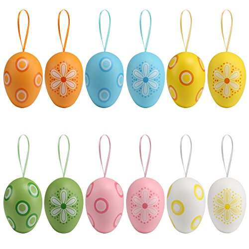 (Naler 12 Pcs Easter Eggs Hanging Ornaments Plastic Printed Bright Easter Eggs with Ribbon Hanger for Easter Hunt Basket Stuffers Fillers Party)