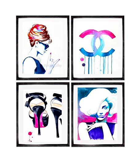 Set of 4 Fashion Art Prints for the Fashionista colorful Illustrations Salon Decor Hot Pink Hair Chanel Audrey Hepburn Salon - Chanel Designs Original