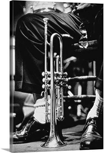 Trumpet Between Jazz Player's Legs Canvas Wall Art Print
