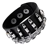 leather bullet bracelet - JOVIVI Punk Pu Leather Skull Design Bracelet Wristband Adjustable Size 7 to 8 Inches Include a Gift Pouch(Bullet)