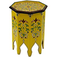 Moroccan Handmade Wood Table Side Delicate Hand Painted Yellow Exquisite