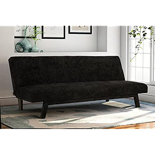 Premium Austin Convertible Sofa Futon, Rich Black Microfiber Couch Bed W/  Upholstered Front Legs, Perfect Small Space Solution, Multifunctional And  ...