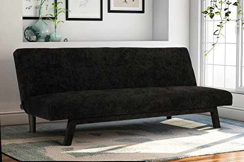 Premium Austin Convertible Sofa Futon, Rich Black Microfiber Couch Bed w/ Upholstered Front Legs, Perfect Small Space Solution, Multifunctional and Adjustable, Sturdy 600 lbs. Weight Limit