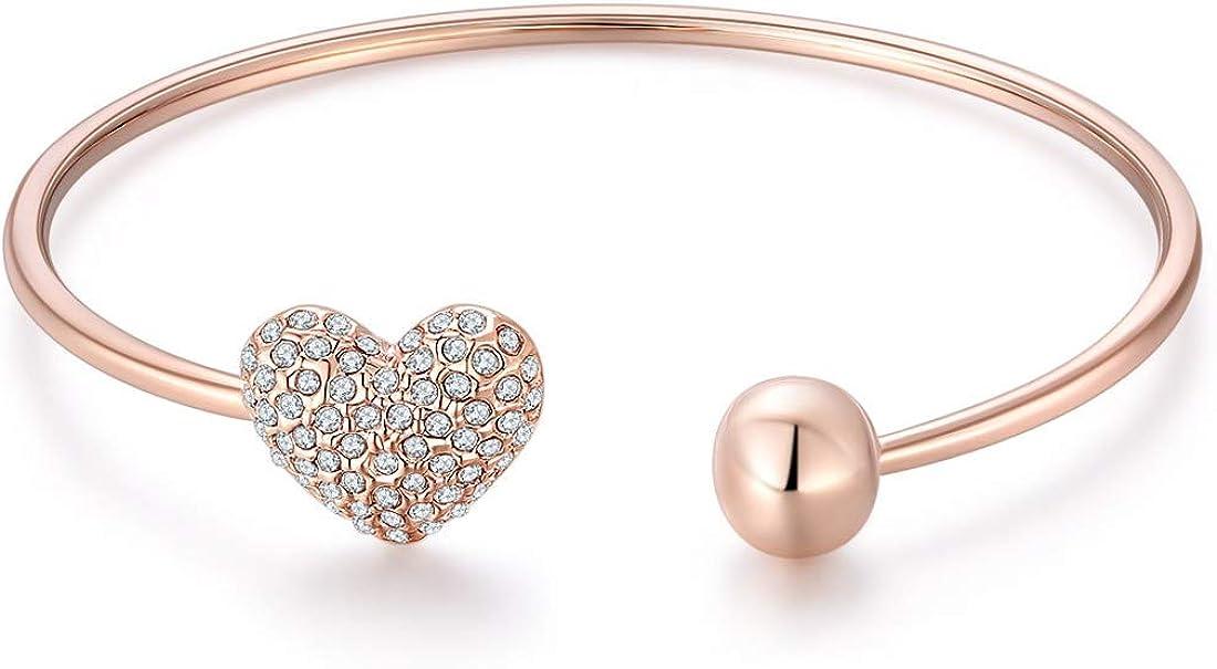 Jewels Galaxy Valentine Collection Luxuria Elegant American Diamond Heart Designer 18K Rose Gold Plated Bracelet for Women//Girls