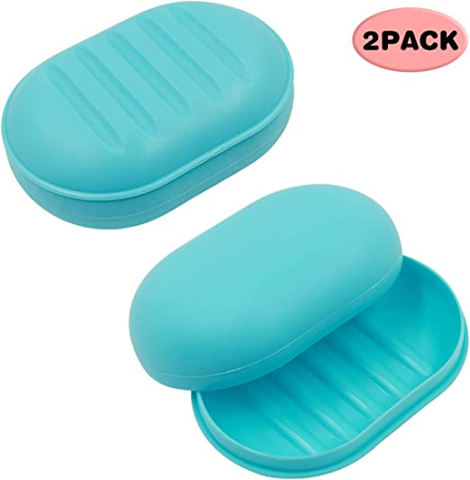 Silicone Bathroom Shower Travel Soap Dish Case Holder Water Draining Contain Box