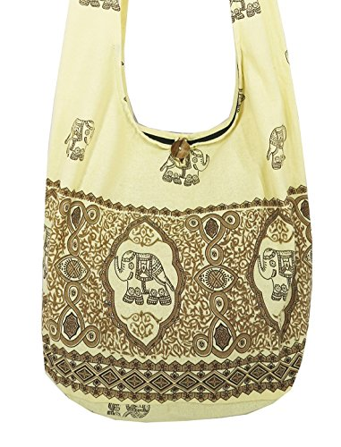 Lovely Creations's Hippie Boho New Elephant Crossbody Bohemian Gypsy Sling Shoulder Large Size (MM Cream) by Lovely Creations (Image #1)