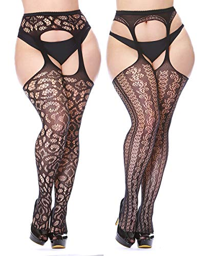 - CURRMIEGO Womens Fishnet Suspender Tights plus size patterned pantyhose Stockings 2-Pairs (Black P1202, Plus Size)