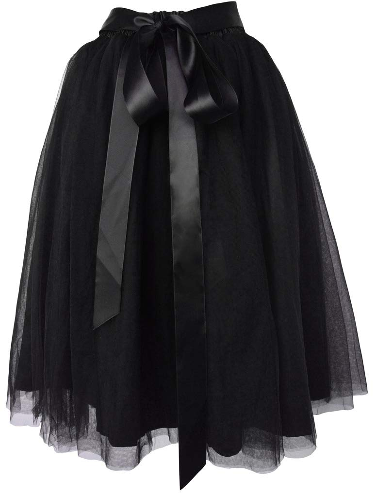 Dancina Women's Knee Length Tutu A Line Layered Tulle Skirt Plus (Size 12-22) Black by Dancina