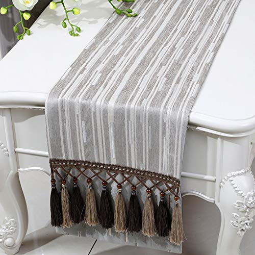 MKJ001 Table Runner Tablecloth Table Cover Chenille Stripe Bed Coffee Table European Style Classical Simple Contemporary Table Mat Wedding Elegant Home Decorative Party Gift, 33230cm, Flat Angl