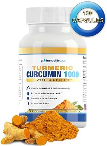 Turmeric Curcumin 1000 with BioPerine Black Pepper - Max Absorption, 95% Curcuminoids - Joint Pain Relief, Anti Inflammatory, Cardiovascular, Digestive, Immune Support, 120 caps
