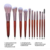 11-Piece Makeup Brushes, Makeup Tool Sets, Suitable for Dust/Foundation/Blush/Concealer, Non-Sticky Powder and Do Not Fade