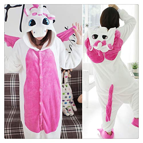 Halloween Autumn and Winter Pajama Sets Cartoon Sleepwear Women Pajamas Christmas Flannel Animal Stitch Panda Unicorn Pajama Rose Red Unicorn -