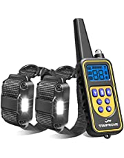 Oxygentle 330 Yards Range Remote Dual Dog Training Collar, 2020 Version Rechargeable and IPX7 Rainproof Dog Shock Collar with Beep, Vibration and Shock, Electric Dog Collar for Puppy, Small, Medium and Large Dogs, 2 Electronic Collar Receivers Included