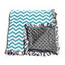 Baby Minky Receiving Blanket - 32 x 32 inches - Cotton Polyester - Teal and Grey Chevron