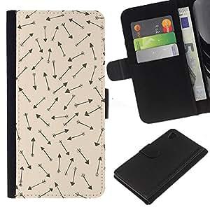 Cueva Dibujos Wallpaper Caza- la tarjeta de Crédito Slots PU Funda de cuero Monedero caso cubierta de piel Para Sony Xperia Z3 Plus / Z3+ / Sony E6553 (Not Z3)