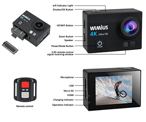 WiMiUS Q3 Black 4K Wifi 98ft Waterproof Action Camera With 2.4G Remote Control HD16 MP, 170° Wide Angle, 2.0'' LCD Screen,2 PCS Batteries,20 All In One Kit Set (SD Card Exclude)