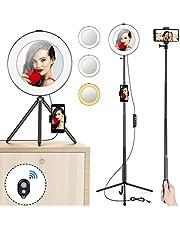 """Ring Light MACTREM 8"""" LED Luce ad Anello Dimmerabile per Selfie con treppiede/Supporto per Cellulare/Bastone Selfie e Specchio, per Trucco, Fotografia, Video,YouTube, Foto in Riprese - Nero"""