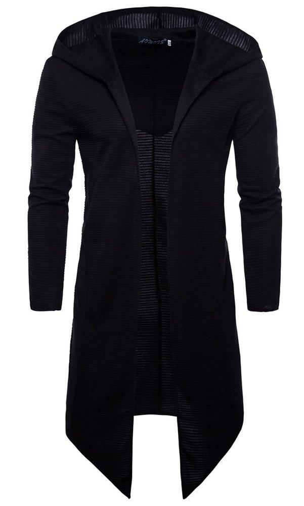 LifeHe Men's Black Long Hooded Cardigan Large Cape Cloak Coat Hoodies (Black, XXL)