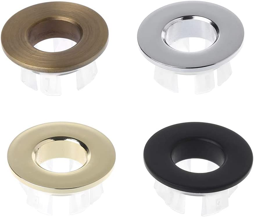 Junlinto,Bathroom Basin Faucet Sink Overflow Cover Brass Six-Foot Ring Insert Replacement Black