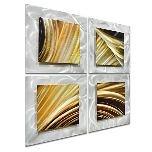 Pure Art Movement in Squares - Small Brown Modern Metal Wall Art Decor - Abstract Artwork of 4 Panels for Kitchen or Bedroom - Hanging Sculpture 25