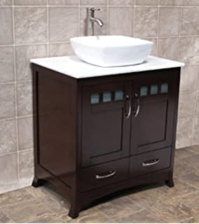 Solid wood 30 Bathroom Vanity Cabinet Glass Vessel Sink Faucet MO