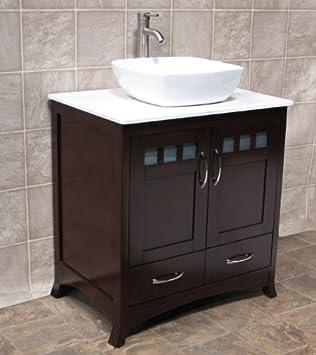 Superior 30u0026quot; Bathroom Solid Wood Vanity Cabinet Ceramic Top Sink Faucet CM1