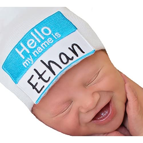 f19cec5275f36 Melondipity Hello My Name is Personalized Newborn Boy Hospital Hat ...