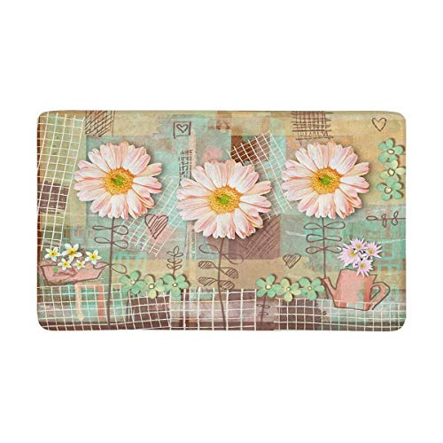 SPXUBZ Elegance Floral Country Postcard with Pink Gerbera Daisy Flowers Non Slip Entrance Rug Outdoor/Indoor Durable and Waterproof Machine Washable Door mat Size:23.6x15.7 inch