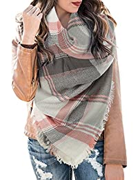 Womens Plaid Blanket Scarf Winter Soft Tassel Scarfs Gorgeous Wrap Shawl By Chuanqi