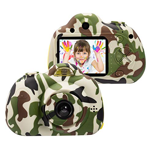 omzer Kids Digital Cameras for 4-9 Year Old Boys,2 Inch LCD Screen Toy Video Camera Birthday for Teen boy, Festival Gift for 5-7 Years Old Boy,Camo(16GB Memory Card Included)