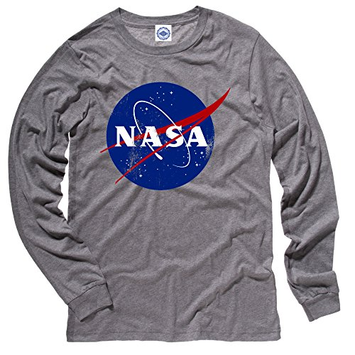 Hank Player U.S.A. Official NASA Logo Men's Long Sleeve T-Shirt (XL, Heather Grey) Official Logo Fashion Tee