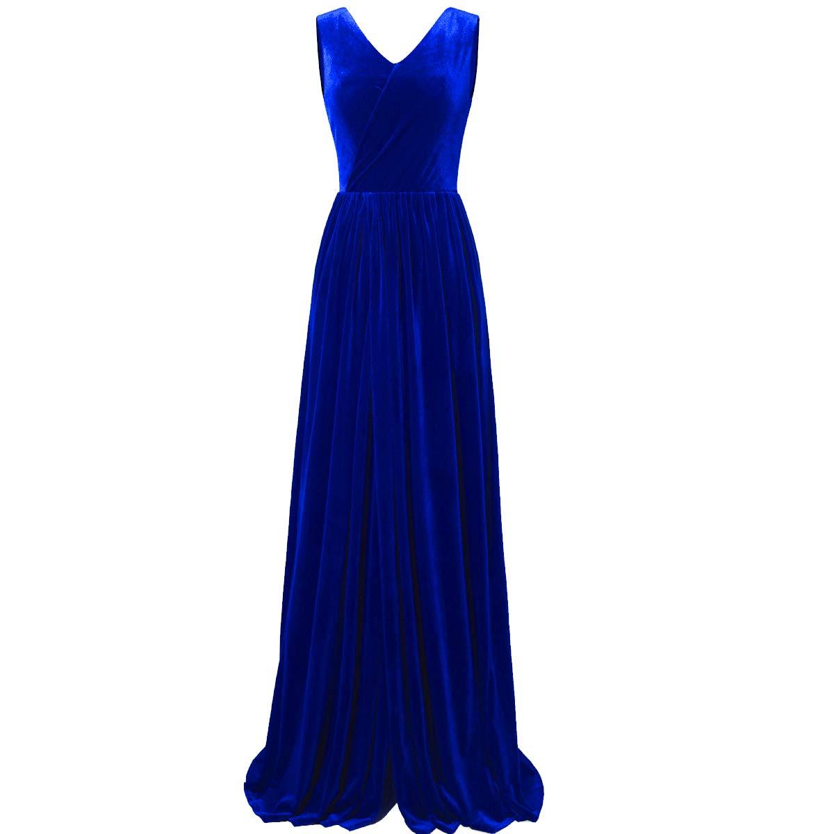 Royal bluee TTYbridal VNeck Split Side Velvet Prom Dresses Backless Long Evening Party Gown with Belt