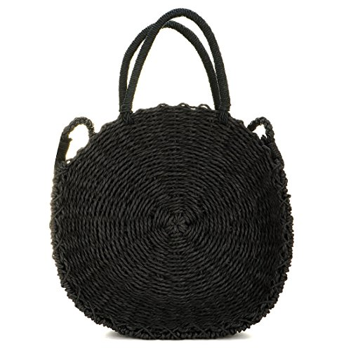 Handbags and Weave Shoulder Black Straw Purse Women Summer Round Crossbody Bag Bag Beach xvvwS1n