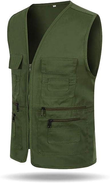 Male Sleeveless Multi Pocket Zip Working Vest Casual New V-neck Jacket Waistcoat