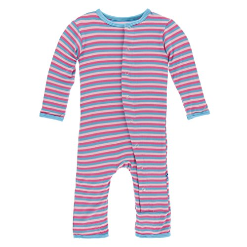Kickee Pants Unisex Baby Print Coverall with Snaps (Flamingo Anniversary Stripe -, 12-18 Months) (Stripes Anniversary)