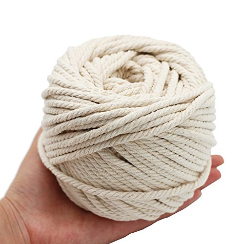 Natural Cotton Macrame Wall Hanging Plant Hanger Craft Making Knitting Cord Rope Natural Color 5mm 50 Meters (5mm)