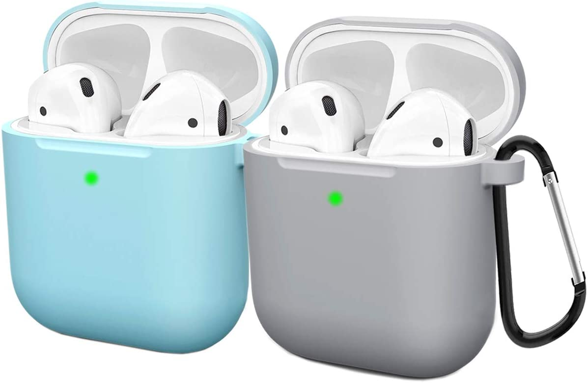 Compatible AirPods Case Cover Silicone Protective Skin for Apple Airpod Case 2&1 (2 Pack) Blue/Gray