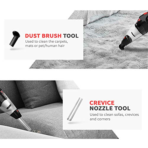 VacLife Handheld Vacuum Cordless, Hand Vacuum Cordless with High Power, Portable Vacuum Cleaner Powered by Li-ion Battery Rechargeable Quick Charge Tech, for Home and Car Cleaning, Black & Red(VL188)