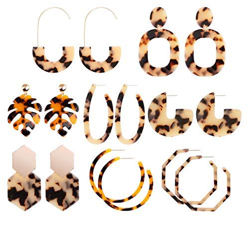 - HAO HONG Arcylic Hoop Earings Statement Earrings for Women,Drop Earrings Handmade Fringe Dangle Earrings (8pcs)